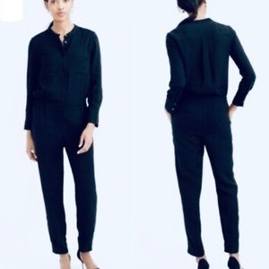 J. Crew Drapey Oxford Crepe Navy Blue Jumpsuit 4